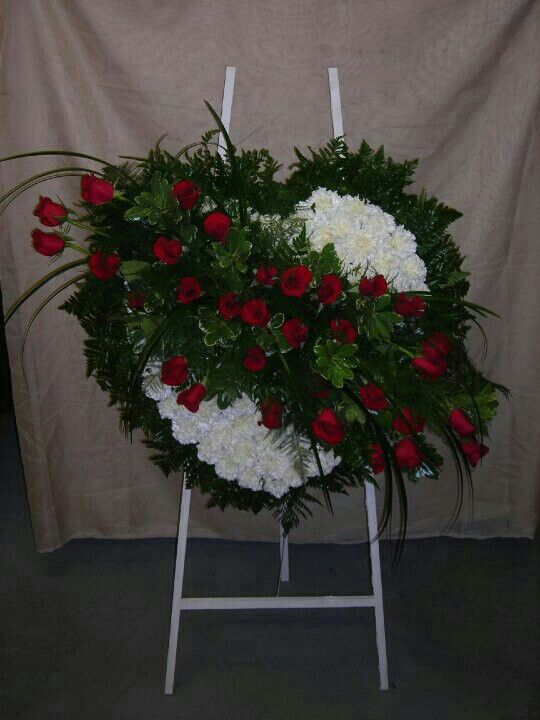Bleeding Heart Spray White Carnations Base With A Red Rose Spray Across It Memorial Flowers Flower Arrangements Funeral Arrangements