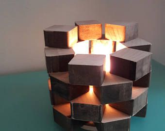 Lampe accent humeur lampe lumière rustique lampe en bois de