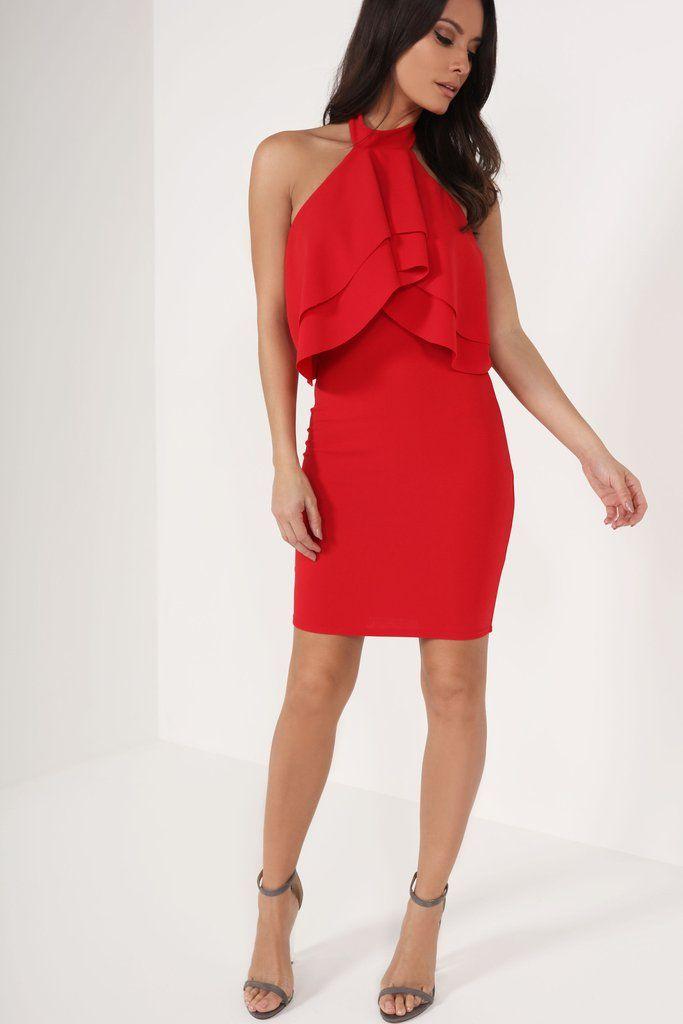 Red and Black Halter Dresses