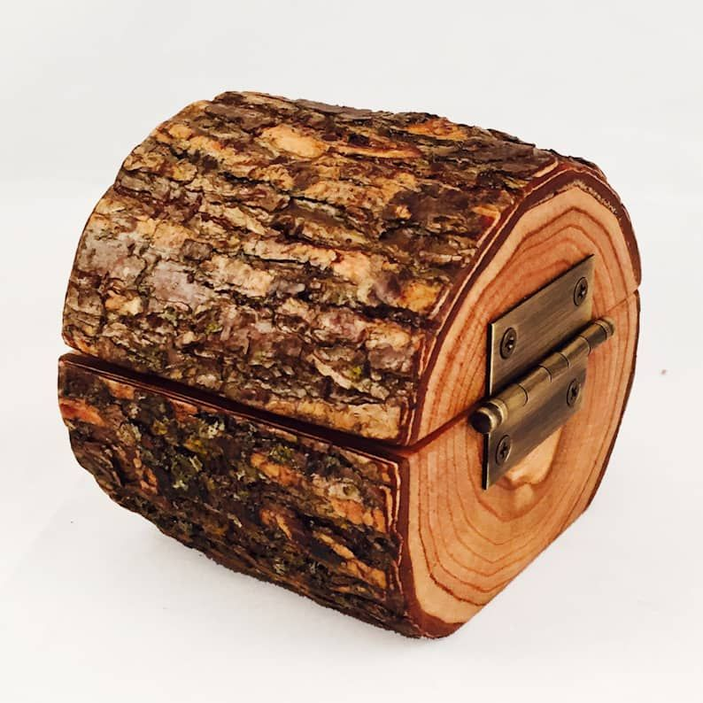 Natural Tree Wood Ring Holder with Flip Top & Hing