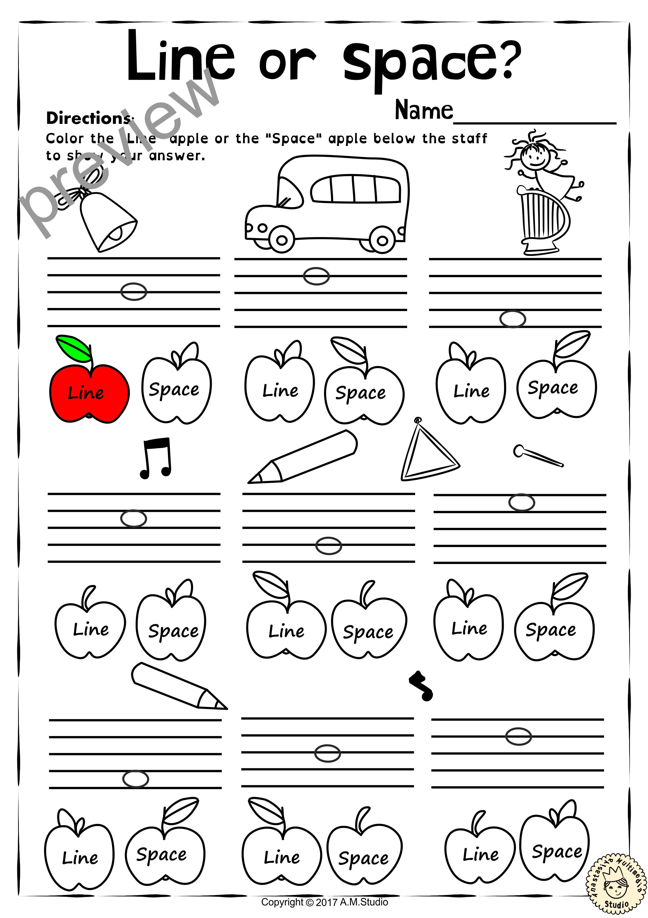 Back To School Music Worksheets Pack Line Space High Low Anastasiya Multimedia Studio Music Worksheets Music Theory Worksheets Music Lessons For Kids [ 3506 x 2476 Pixel ]