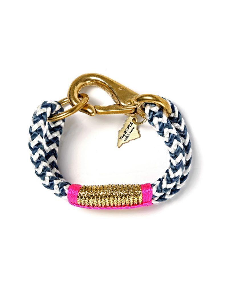 The ropes navy chevron gold u hot pink bracelet navy chevron