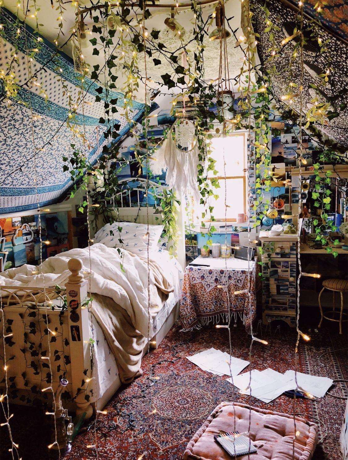 Bohemian Whimsical Bedroom Decor Houseplants Colorful In 2020 Bohemian Bedroom Decor Hippie Room Ideas Bedroom Bohemian Bedroom Decor