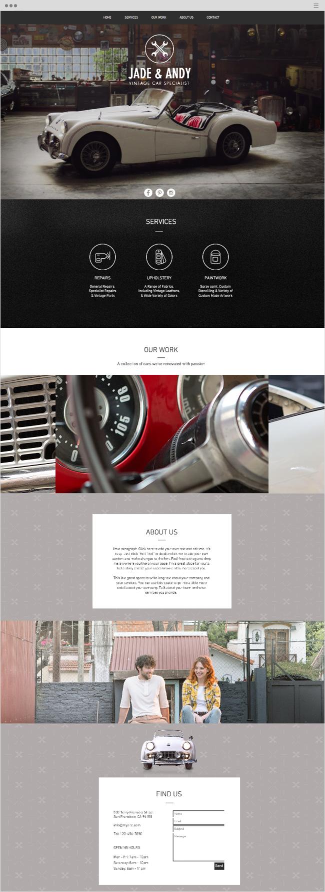 vintage car garage website template wix website templates pinterest template and logos. Black Bedroom Furniture Sets. Home Design Ideas