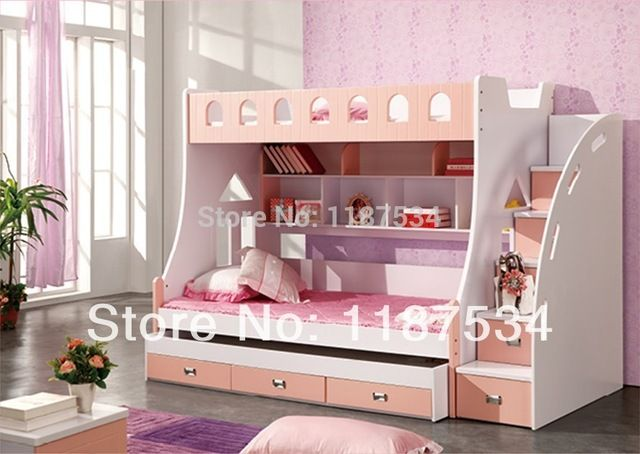 859 Combined Bunk Beds 1 5m Children Bed 3 In 1 Children Bed With Storage Pink Kids Lovely Bed Kid Beds Tween Bedroom Decor Cool Beds For Kids