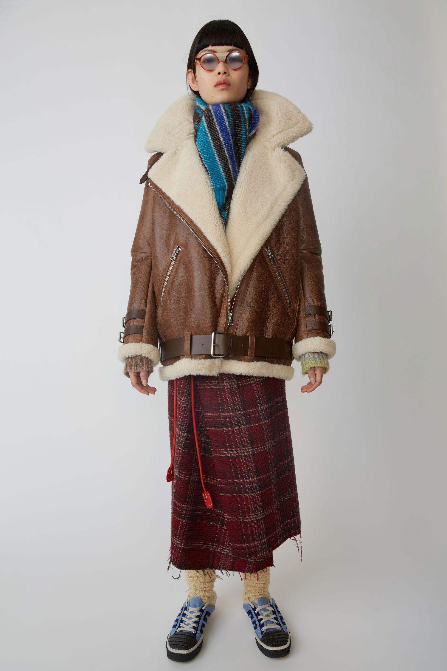 Acne Studios Shearling Jacket Dark Brown/White In Brown