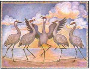 Crane's Ballet Limited edition print by Shannon Cartwright. Signed and numbered by the artist. Sandhill Cranes dance on the shores of Alaska