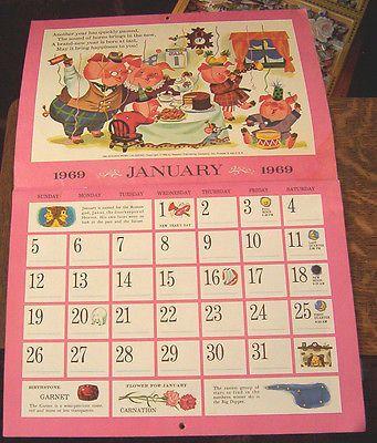 1969 Golden Magazine Calendar Illustrated By Mel Crawford January