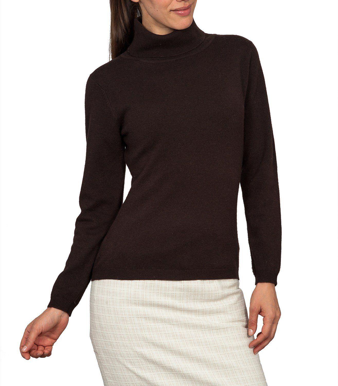 Wool Overs Women's Cashmere & Merino Slinky Turtleneck Sweater ...