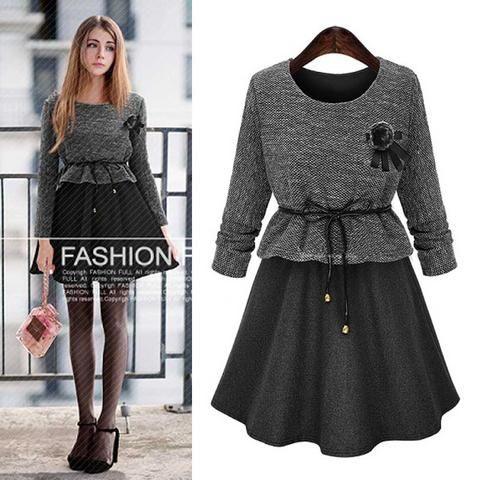 Long Sleeve Cotton O-Neck Dress