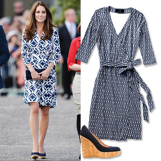 10 Celebrity Inspired Summer Outfits To Wear Work Printed Wrap Dress Cork Wedges From Instyle