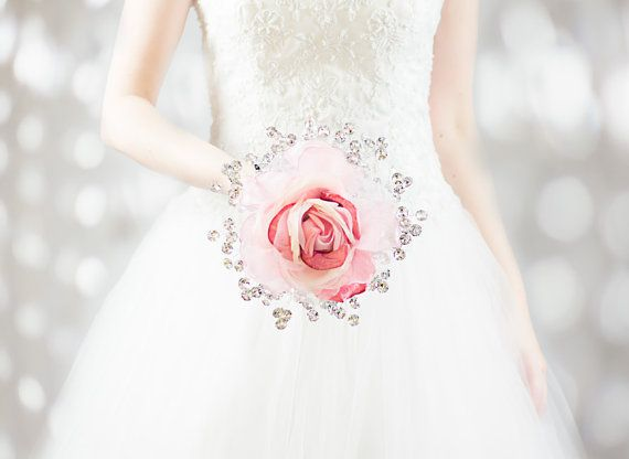 Pink Rose with Mirrored Beads - Wedding Brooch Bouquet by BridalBouquetsbyKy