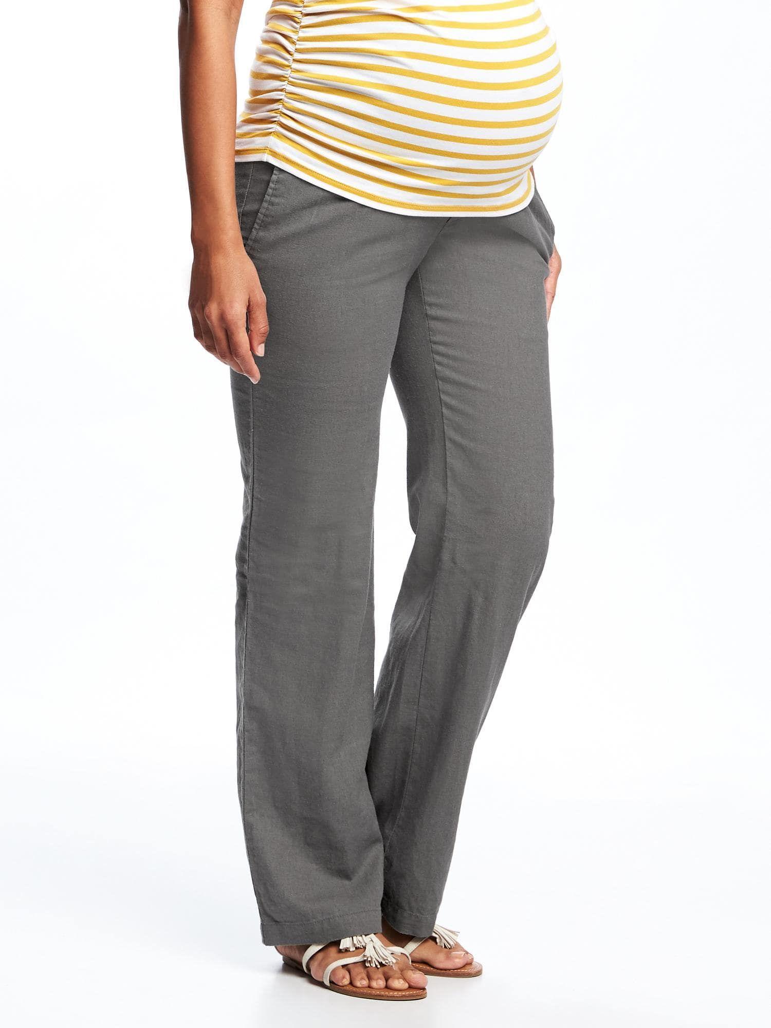b7aa8a0d5b3c5 Maternity Roll-Panel Wide-Leg Linen-Blend Pants | Old Navy | Fashion ...