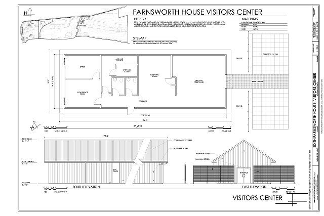 Site map plan and south east elevations edith for Farnsworth house floor plan