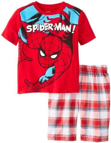 Marvel Comics Spiderman Boys 2-7 Plaid Short Set $8.40