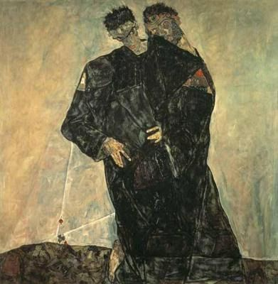 * The Hermits, Self Portrait with Gustav Klimt - Egon Schiele (1890-1918)