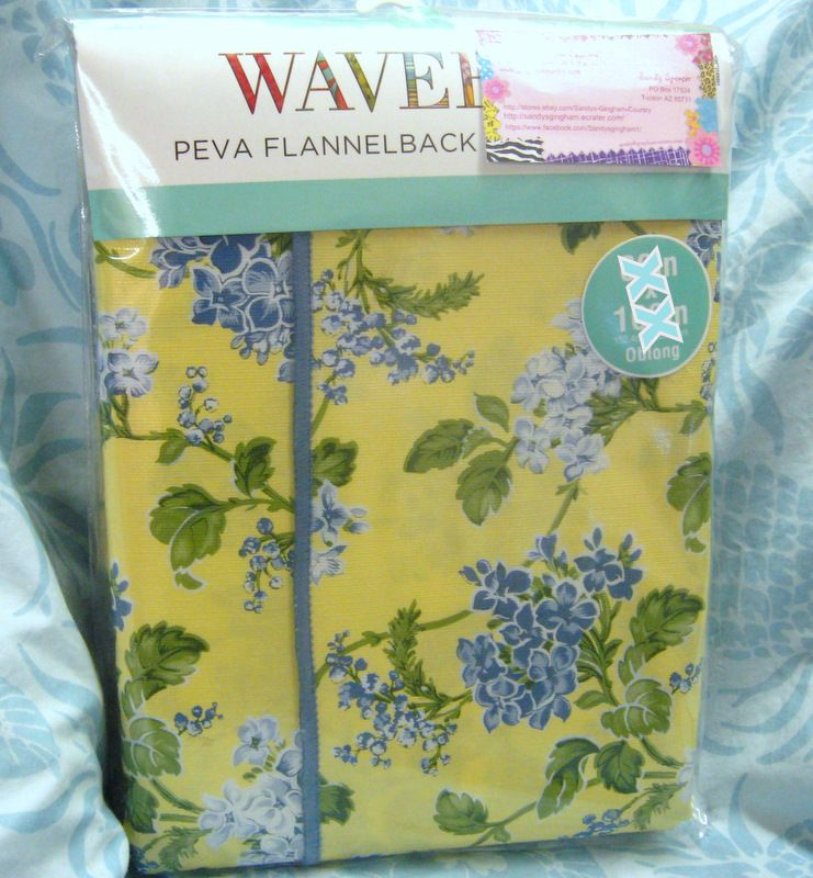 WAVERLY TABLECLOTH VNIYL/FLANNEL BACK 52x70 YELLOW / BLUE FLORAL $15.95