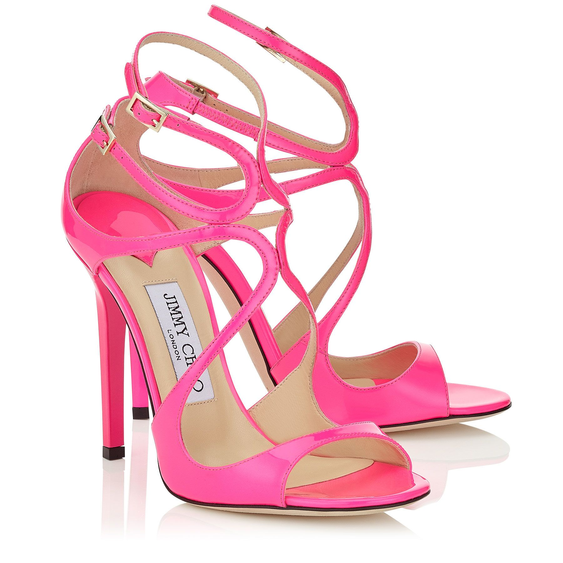 Jimmy Choo AUTH Raspberry Neon Patent Strappy Sandals high heel size 6