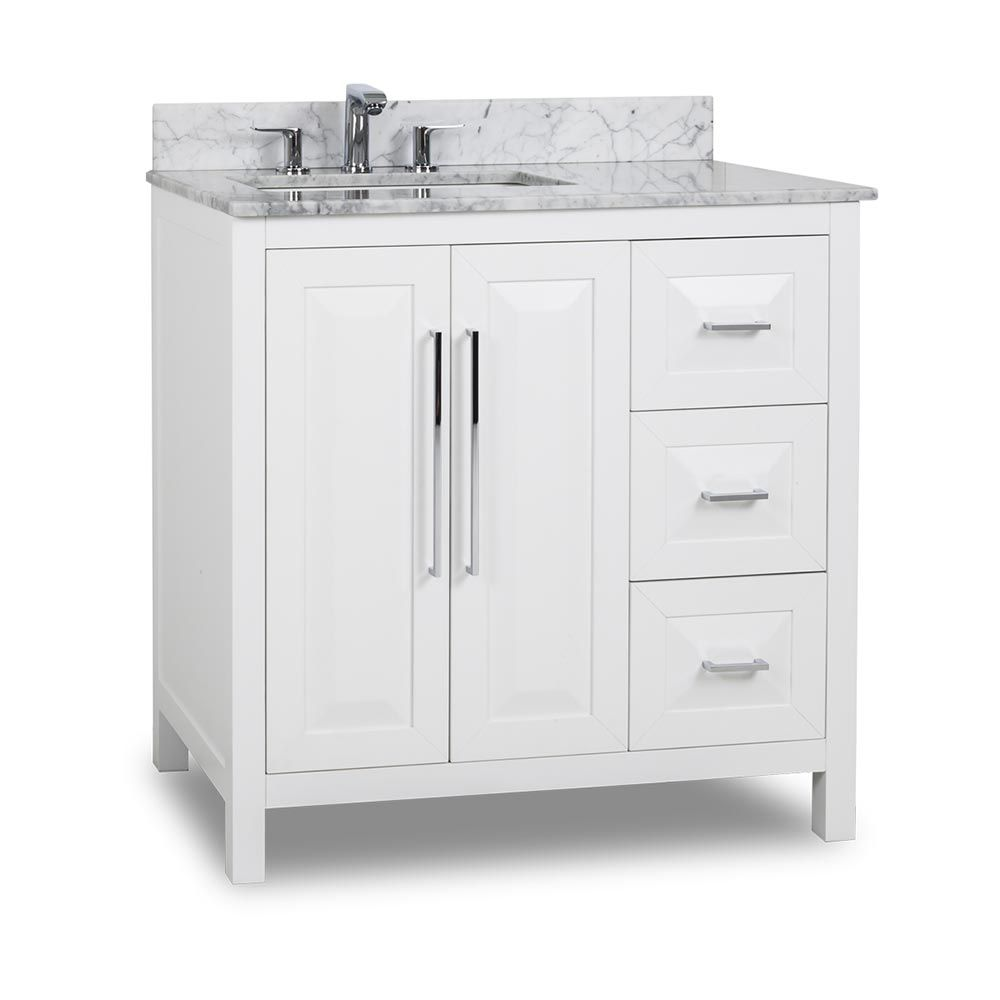 White 36 inch bathroom vanities - This 36 Inch White Finish Single Sink Bathroom Vanity Carrera Marble Countertop Large Cabinet With