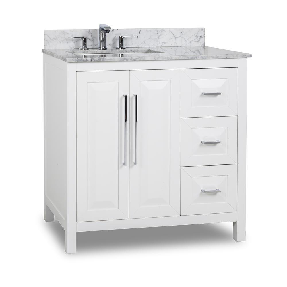 36 Inch White Finish Single Sink Bathroom Vanity Carrera Marble Countertop 36 Bathroom Vanity Single Sink Bathroom Vanity Bathroom Vanity Tops