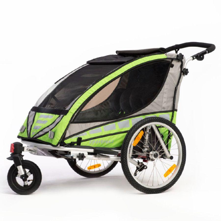 Qeridoo Kinderfahrradanhanger Sportrex2 Grun Fahrradanhanger
