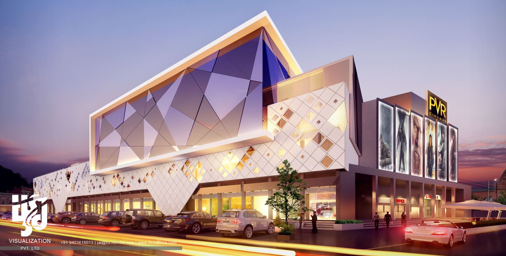 Shopping Mall Exterior Rendering Night View Facade Architecture Shopping Mall Architecture Architecture Exterior