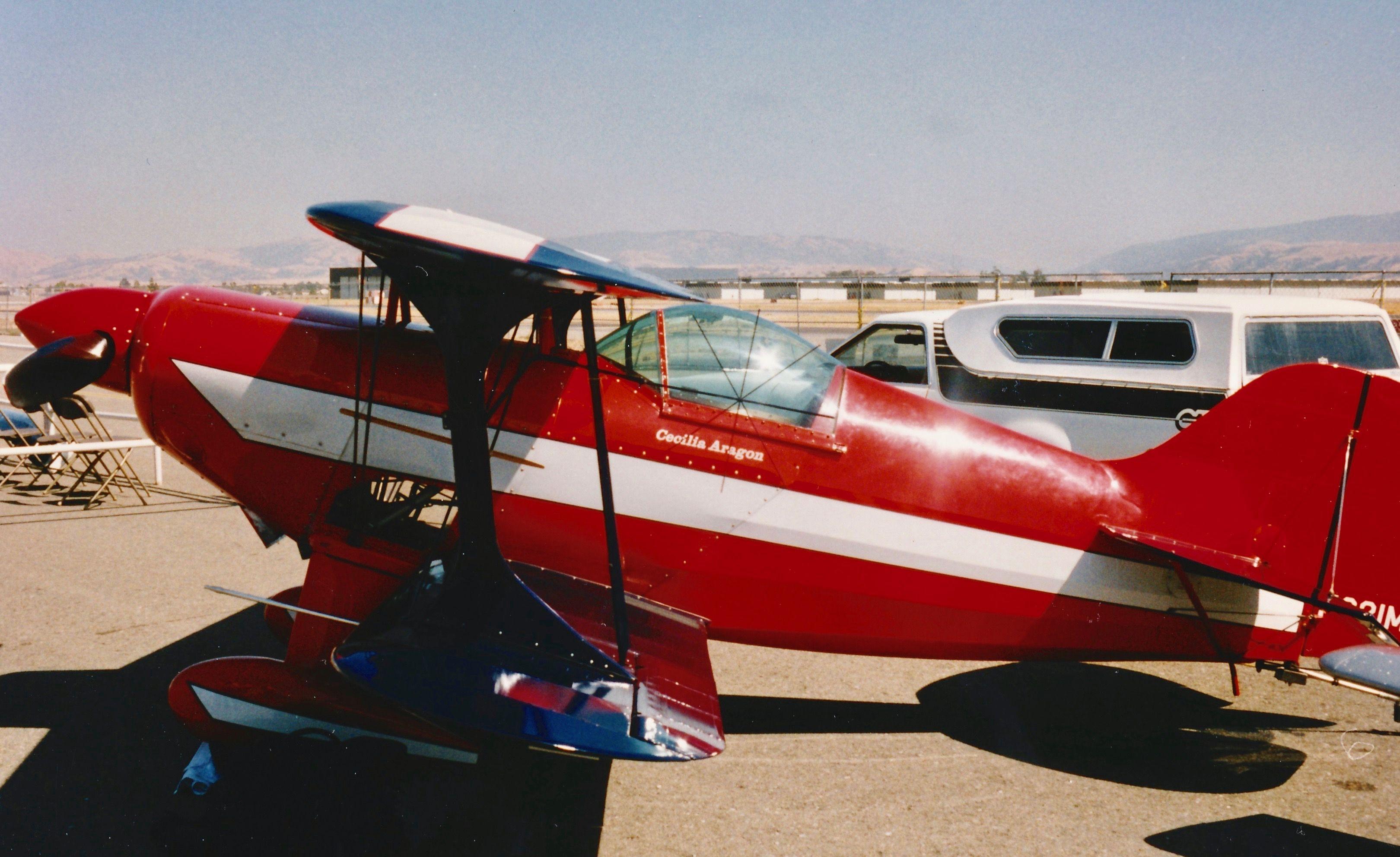 Cecilia Aragon Pitts at Livermore Airport in California. 1990's.
