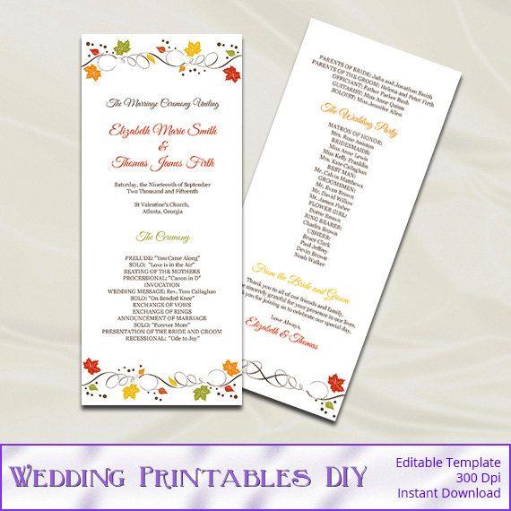 Fall Wedding Program Template Autumn Leaves Tea Length Programs