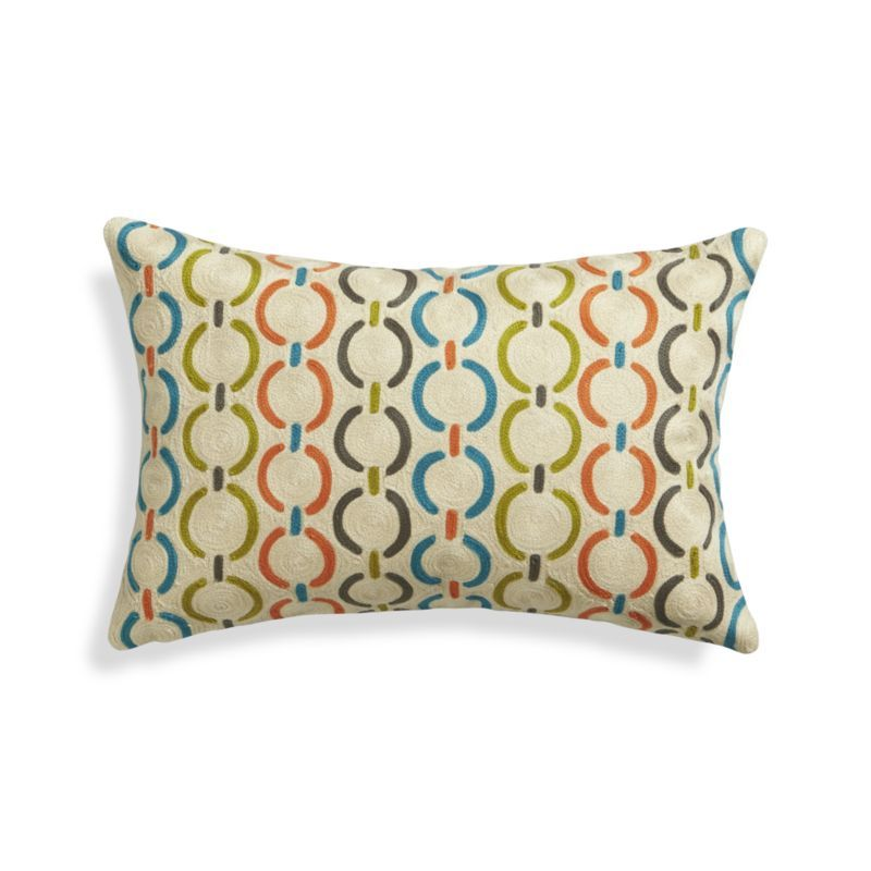 Chainstitched embroidery textures pillow in the relaxed