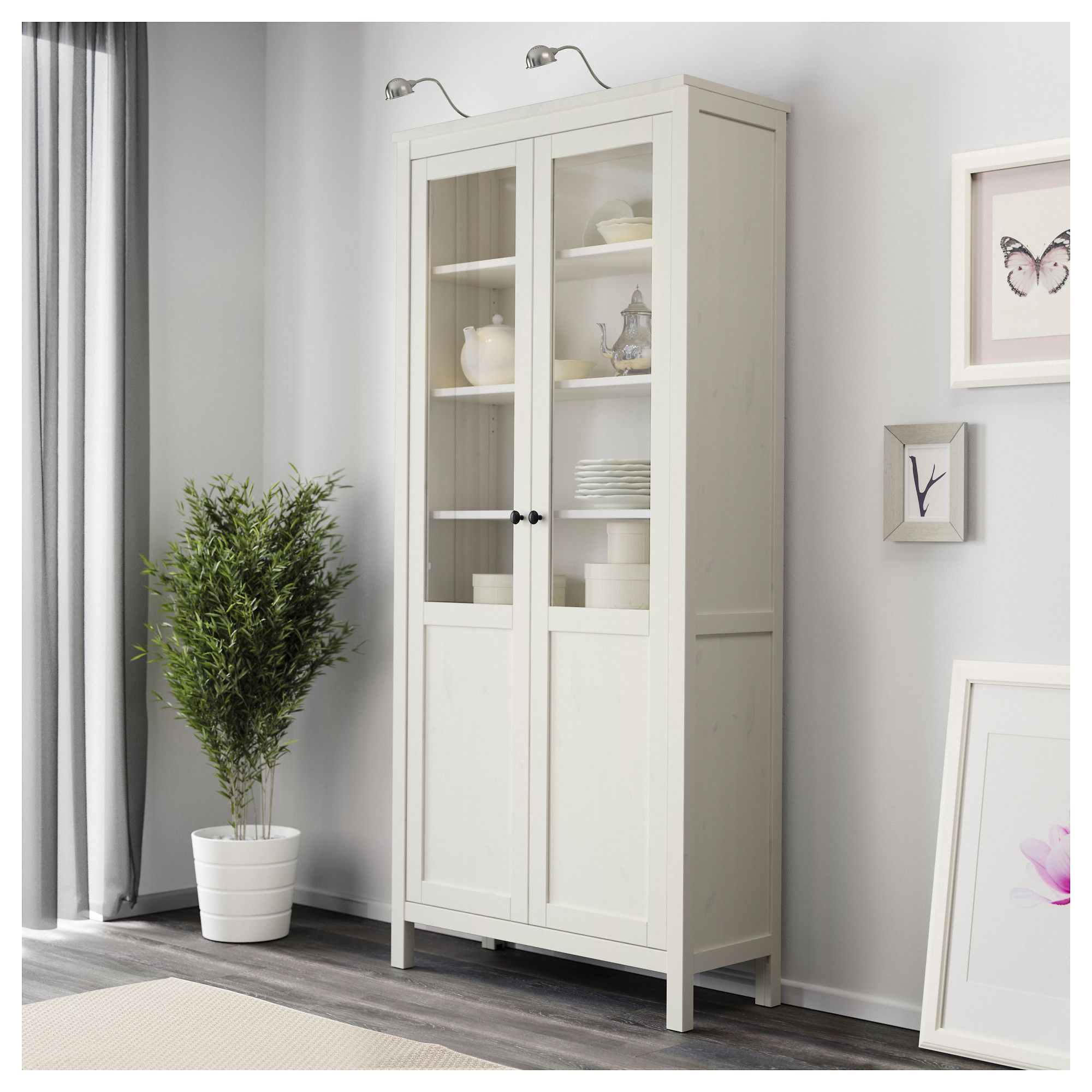 HEMNES Cabinet with panel/glass door, white stain | Pinterest ...