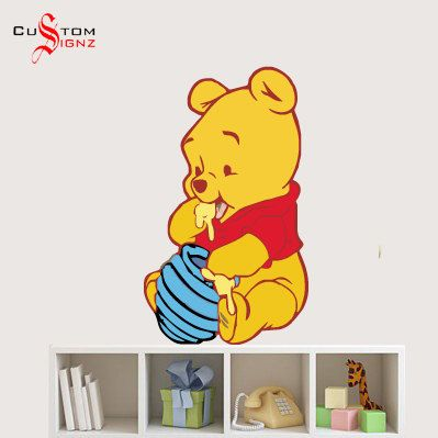 Winnie Pooh Baby Pooh Disney Cartoon Wall Sticker Art Vinyl Mural Full Colour 710mm x 420mm Custom Sizes Available $19