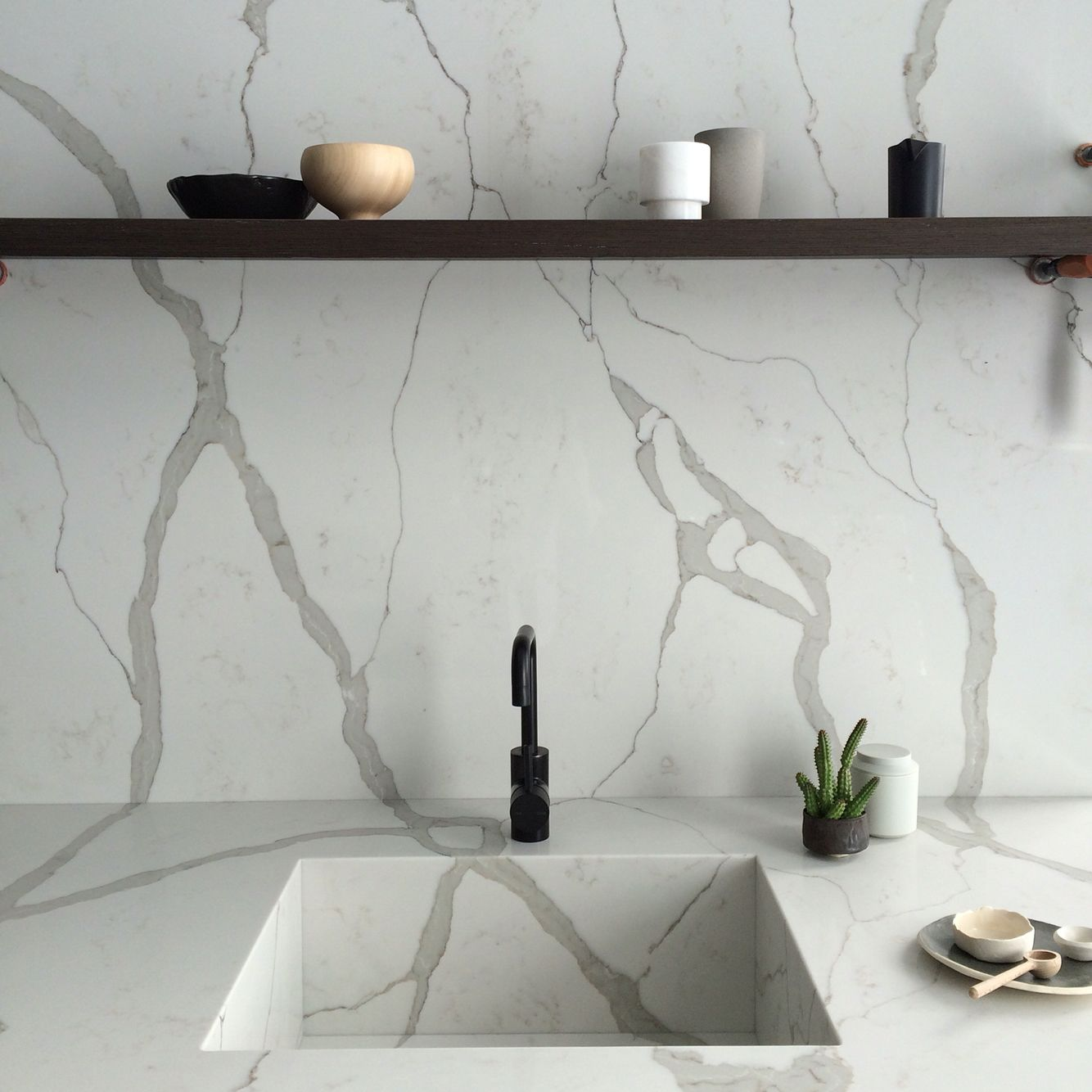 Calacatta Marble Kitchen: Smartstone Quartz Surfaces - Calacatta Blanco