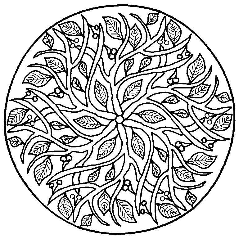 Uzor Iz Listev I Vishenok Abstraktnye Raskraski Besplatnye Raskraski Raskraski Mandala