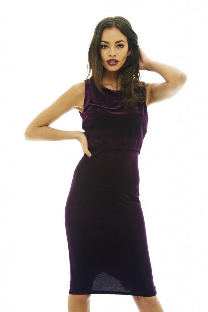 AX Paris Womens Plum Cropped Overlay Velvet Dress Stylish Glam Ladies  Clothing 3ee7fa496