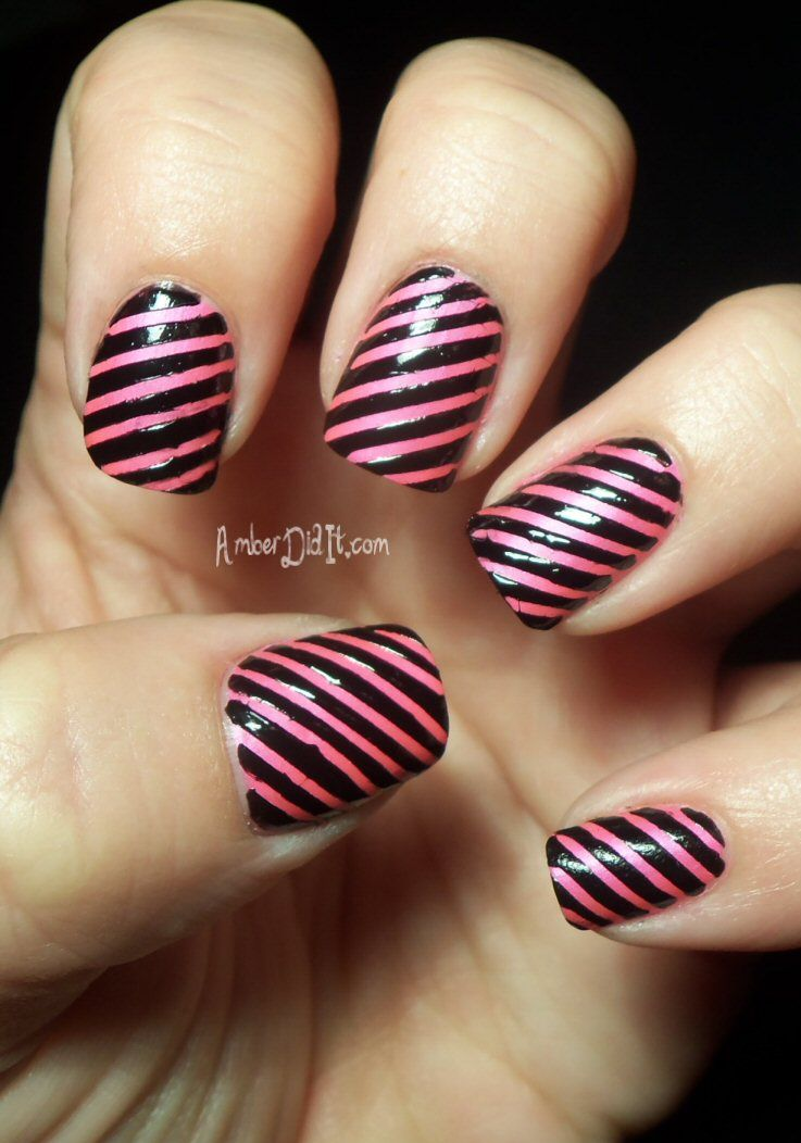 Pink And Black Stripes Naildesign Stripe Nail Art