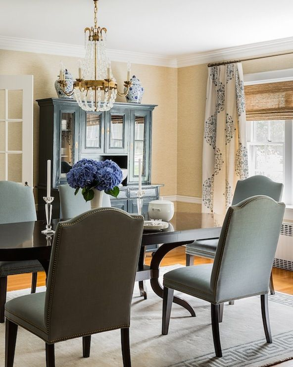 Sophisticated Dining Room Features Gold Grasscloth