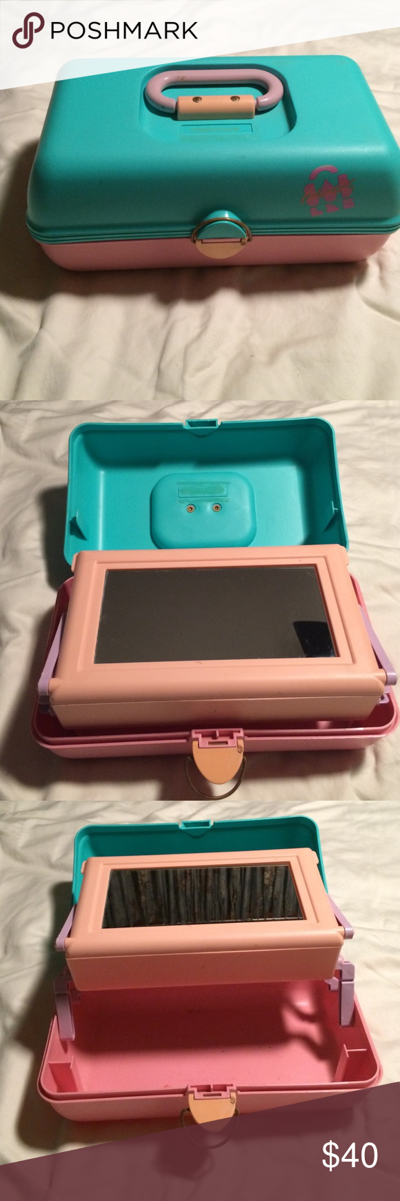 Vintage Caboodle*Final Markdown!* Vintage mint green and pink Caboodle with mirror and pull out tray. One small spot on the latch(see pic 4). That can be easily covered with a sticker or something Accessories