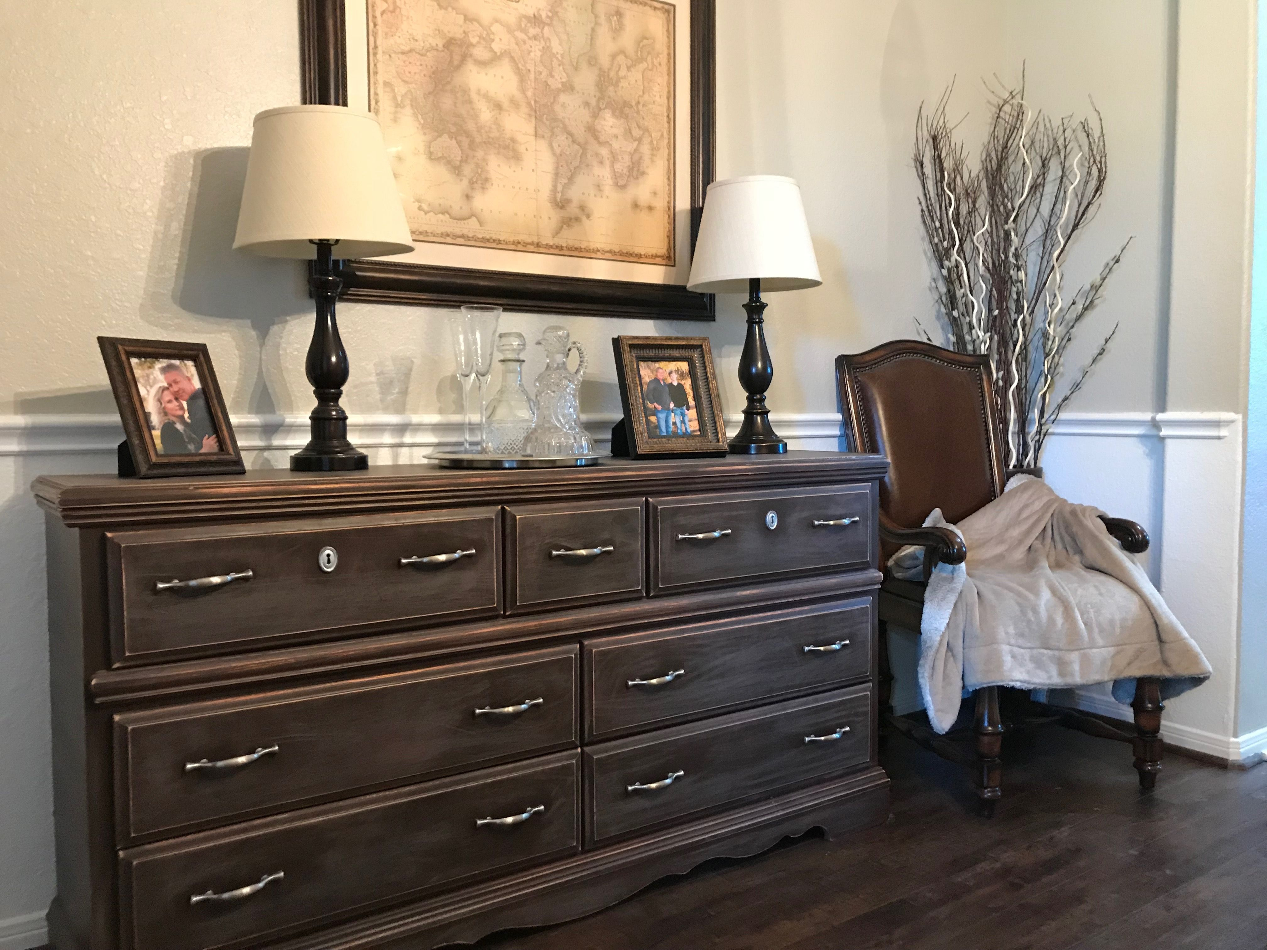 Refurbished dresser with mocha paint and weathered look ...