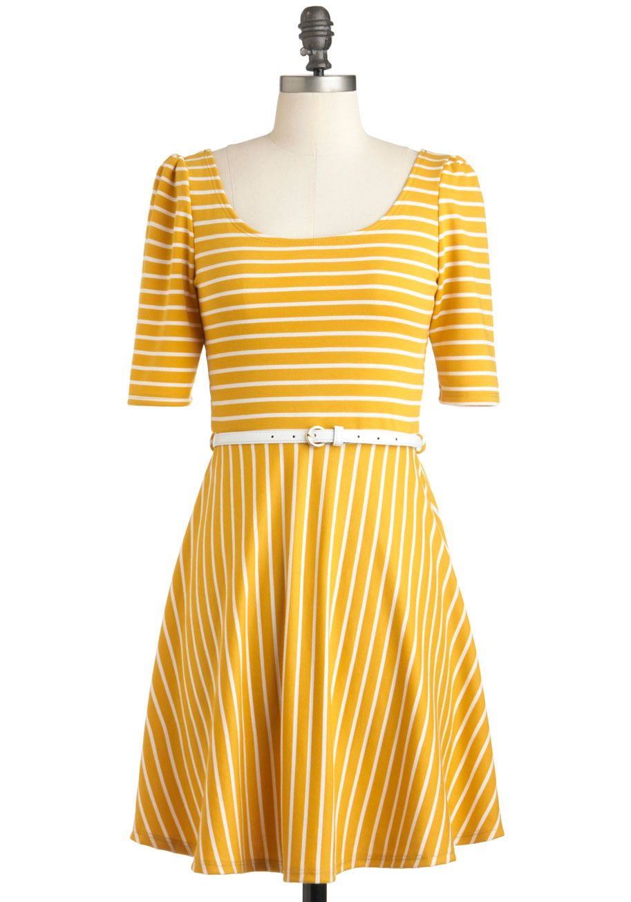 Difference Between White and Saffron Dress - Mid-length, Yellow, White, Stripes, Belted, Party, A-line, Short Sleeves, Spring, Summer, Casual