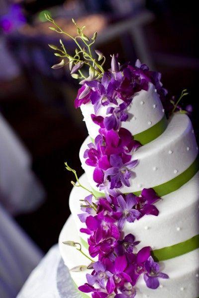 Purple And Green Modern Miami Wedding Square Wedding Cakes