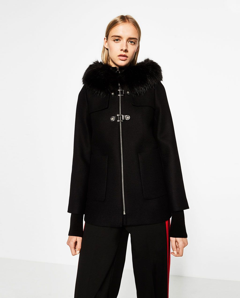 a line duffle coat parkas outerwear woman zara. Black Bedroom Furniture Sets. Home Design Ideas