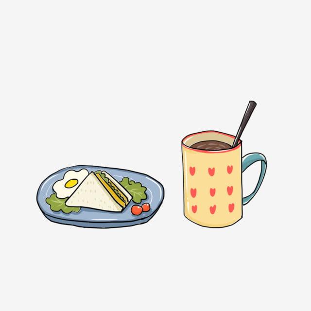 美味早餐咖啡三明治 早餐剪貼畫 手繪竽 取色素材 Psd格式圖案和png圖片免費下載 อาหารเช า อาหาร