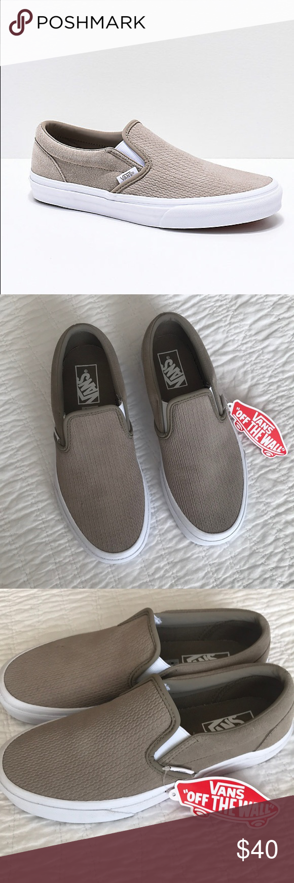 59714d5e998 Vans Classic Slip-On Desert Taupe Suede Emboss 7.5 Vans Classic Slip-On.  Suede Desert Taupe Embossed. Women s 7.5. New in box never worn but the box  lid is ...