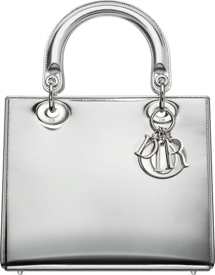 680627369499 Lady Dior Bag in Argent Mirror Leather