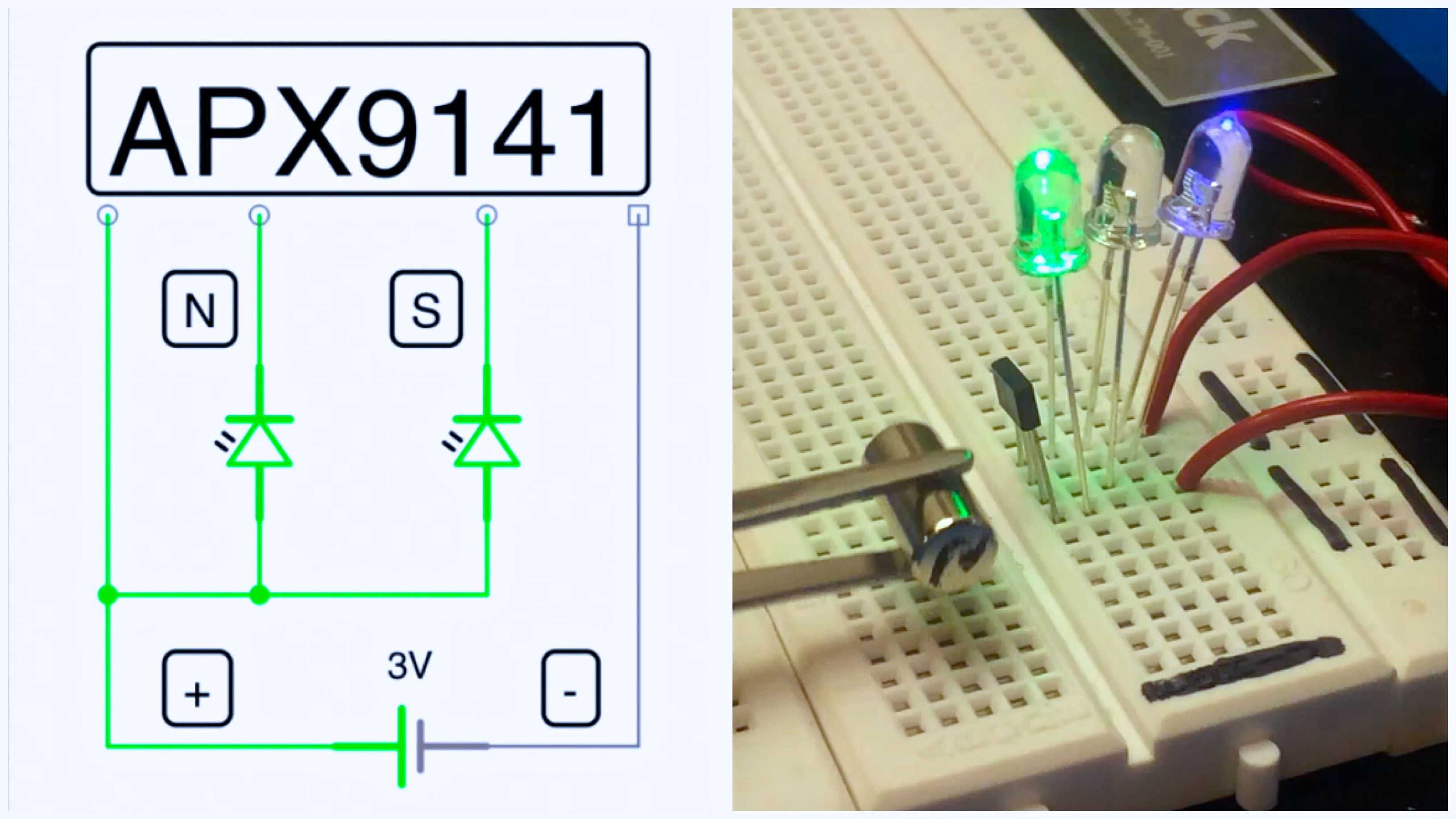 Magnetic Polarity Detector: Breadboard Hall Effect Sensor Circuit
