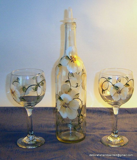 Olive oil bottle wine glasses hand painted gold white for Painting flowers on wine bottles