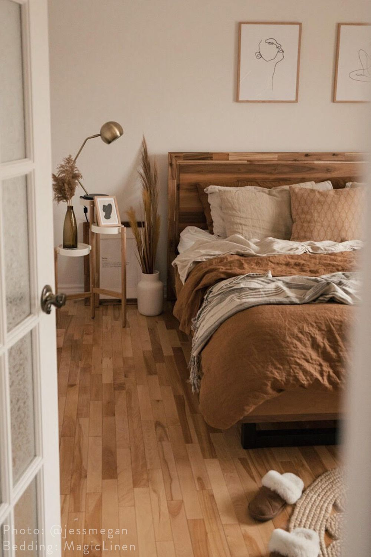 Super Soft Cinnamon Linen Bedding Bedroom Interior Room Ideas Bedroom Bedroom Design
