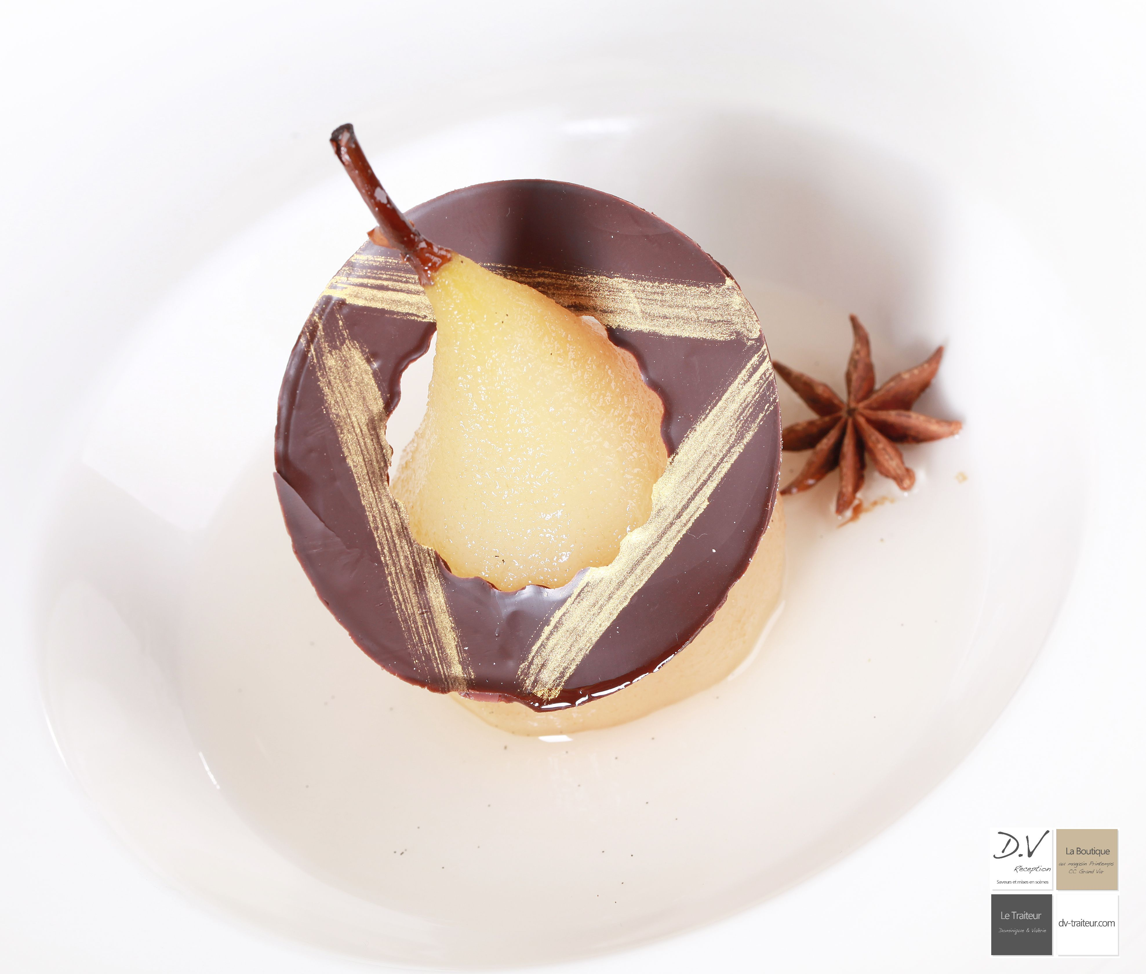 Poire, chocolat, fleur de Badiane | Patisserie chocolat, Plaisir gourmand