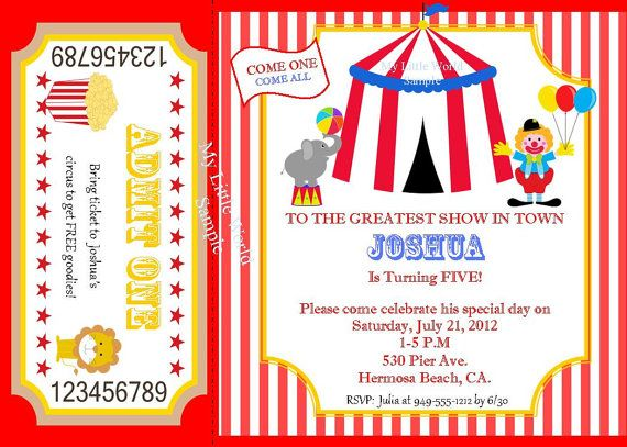 circus invitation circus birthday invitation carnival birthday