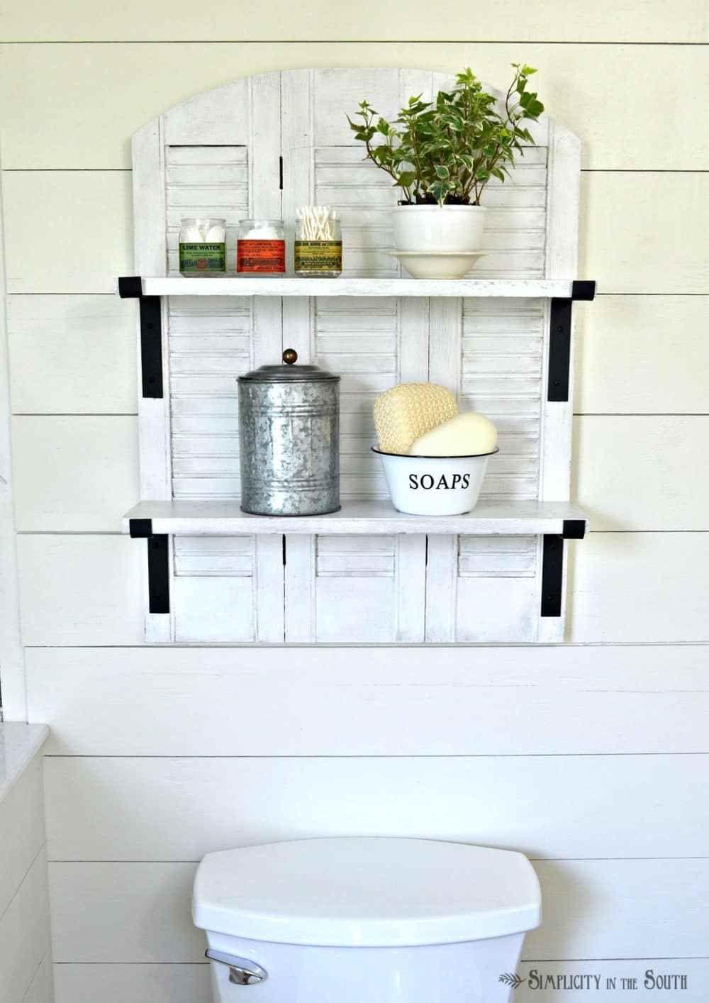 Knock Off Ballard Designs Repurposed Shutters Bathroom Shelf ...